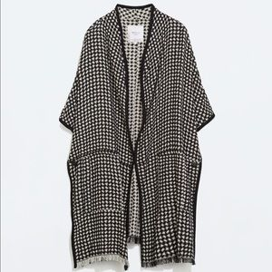 Zara Collection Houndstooth Knit Poncho