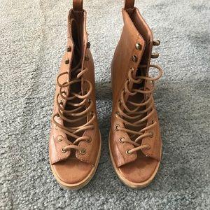 Deena & Ozzy Shoes - Deena & Ozzy peep toe tie up booties