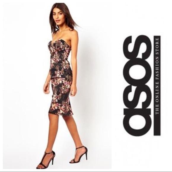 Asos Last Sale 🌸 Asos Floral Bandeau Pencil Dress From