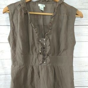 Anthropologie Odille Ruffle front top Sz 6