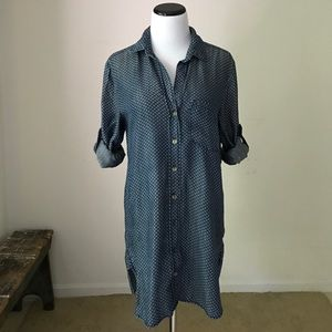 Anthro Cloth & Stone Diamond Dot Chambray Dress