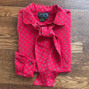 VINTAGE • Red Printed Tie Blouse