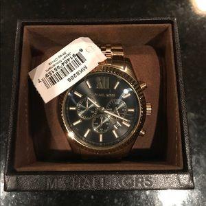 michael kors gold tone lexington watch, black dial