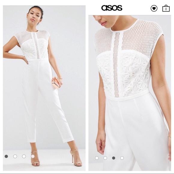 c67a51ba6551 Asos White Lace Jumpsuit
