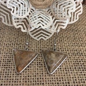 Jewelry - Fossil Coral Triangle Earrings