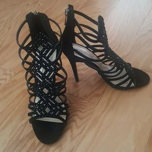 Anne Michelle Shoes - Anne Michelle Super Strappy Caged Peep Toe Heels