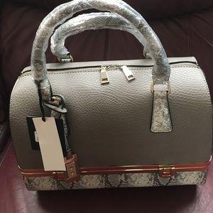 Handbags - Taupe & snake bottom compartment handbag