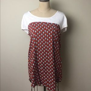 Anthropologie multi fabric print long top