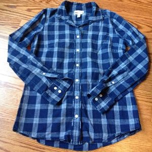 Closet Clear Out🎉 J. Crew Blue Plaid Long Sleeve
