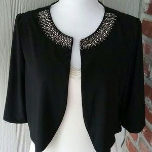 Haani Jackets & Blazers - New Black Beaded Rhinestone Jacket Shrug Small
