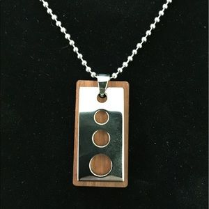 Men's Stainless Steel And Wood Dog Tag Necklace
