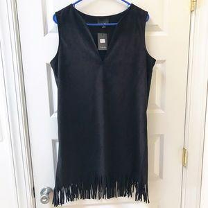 Lumière Black Faux Suede Fringe Dress NWT