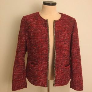 Chicos Blazer jacket 2 red tweed boucle bead trim