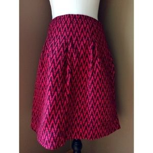 LOFT hot pink chevron Linen Blend skirt