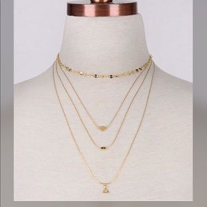 曆曆JEWELRY SALE曆Dainty 4 Piece Necklace--Faux Gold曆