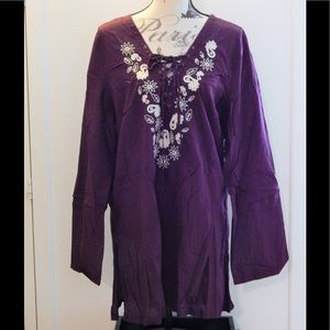 Old Navy Purple Embroidered Boho Top Sz XXL
