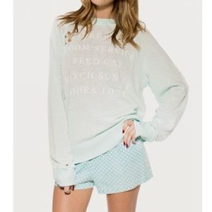 🦄Wildfox Destroyed Everyday Sweater*Bleached Aqua