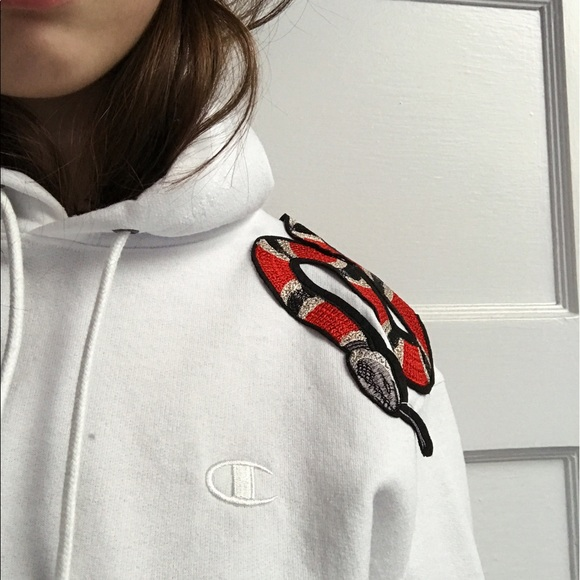 ddb8dfcd45b Champion hoodie with Gucci snake patch. M 59343e4a2fd0b7c0ed066cda