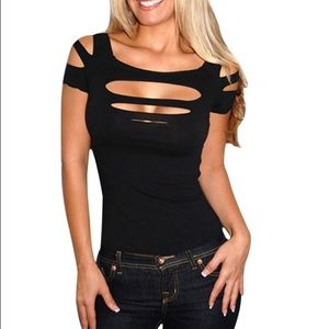 Tops - Black slashed club wear top