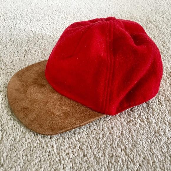 gap wool baseball cap 1969 red vintage suede