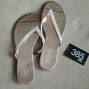385 Fifth Shoes - NWT Metallic Rhinstone Flip Flops