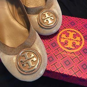 Tory Burch Shoes - Tory Burch Caroline 2 Gold Sparkle Nightfall