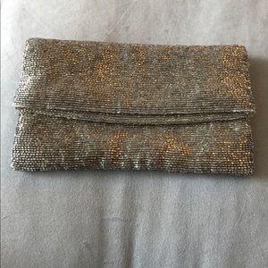 Club Monaco Handbags - Club Monaco Silver Beaded Foldover Clutch