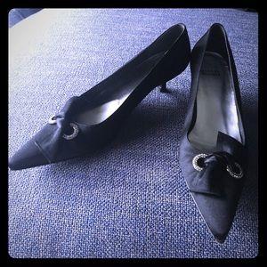 Stuart Weitzman Shoes - Stuart Weitzman Satin Bow+Rhinestone Kitten Heels!