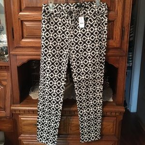 JCREW pattern black/white ankle toothpick jeans
