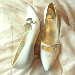 Stuart Weitzman Shoes - Stuart Weitzman White Satin Kitten Heel w/ Sparkle