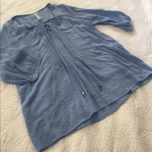 Light weight summery blue peasant blouse