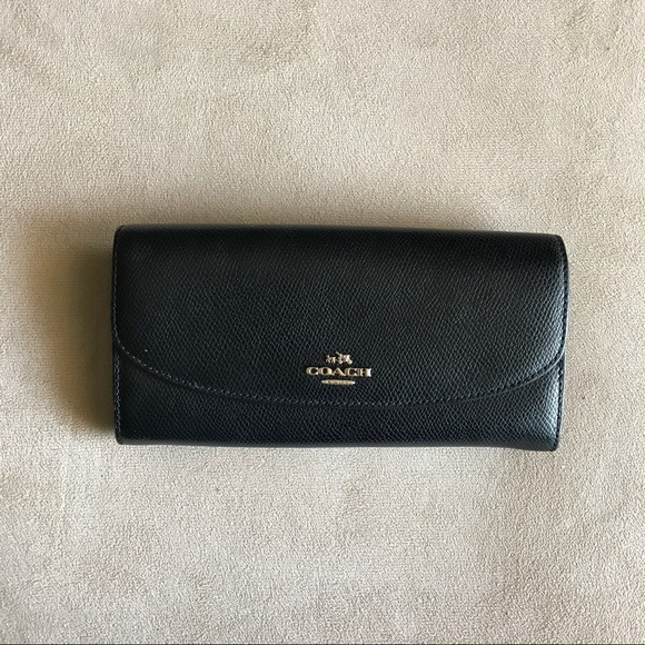 308f1e861c4 Coach Handbags - Coach Black Saffiano Leather Foldover Wallet ❣️