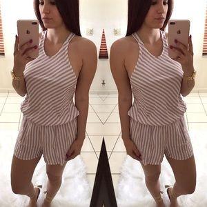 Pants - 🆕 Mauve & White Striped Racerback Romper