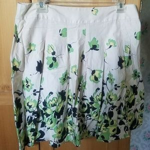  Knife pleated floral print cotton round skirt