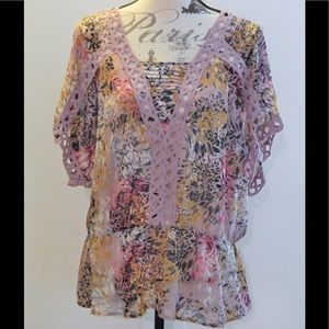 Daniel Rainn Light Purple Printed Blouse Sz L