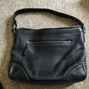 Coach black leather bucket bag