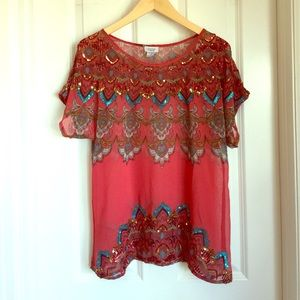 Charming Charlie Tops - Red Beaded Top