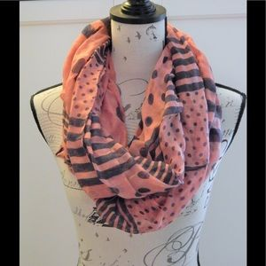 Pink and Navy Polka Dot Stripe Infinity Scarf