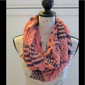 Accessories - Pink and Navy Polka Dot Stripe Infinity Scarf