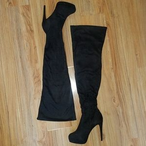 Charlotte Russe Shoes - CHARLOTTE RUSSE Black thigh high boots