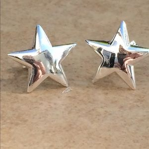 Sterling Silver 925 Polished Super Star Studs