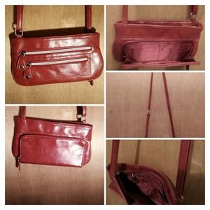 Small red faux leather cross-body bag