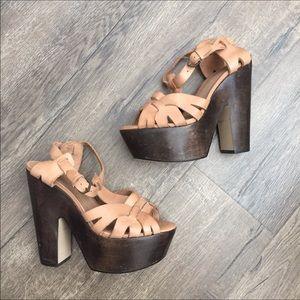 Topshop beige tan leather platform heels 6.5 37