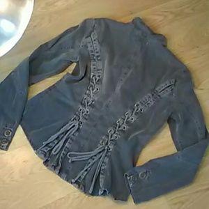 XCVI Jackets & Blazers - XCVI Lace up back button front light jacket