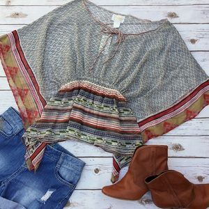 Passport Tops - Sheer Printed Coverup or Festival Blouse NWT