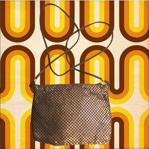vintage 80's bronze mesh purse