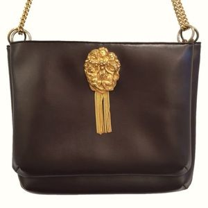 Vintage Bags - vintage 70s brown leather bag w/gold angel relief
