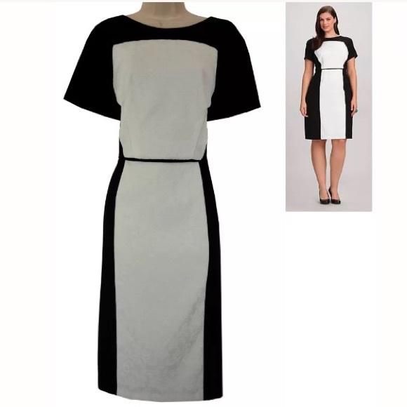 Dressbarn Collection Dresses | 14w 1x Jacquard Colorblock Sheath ...