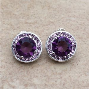 Silver Plated Round Amethyst Crystal Halo Studs