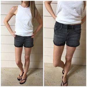 Washed Grey High Waist Denim Shorts